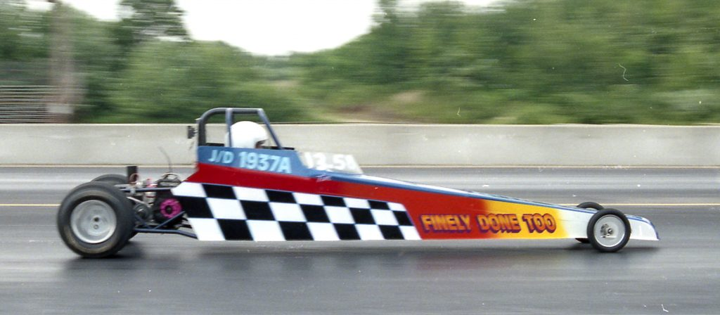 Tim Paquette roars to the finish line in the Finely Done Too Junior Dragster at New England Dragway in 1998 - Fran's Auto Body - Full Service Auto Repair in Hancock, NH - 603 525-4461